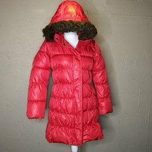 Gap Red Long Puffer Jacket Coat w/ Hood Girls XL